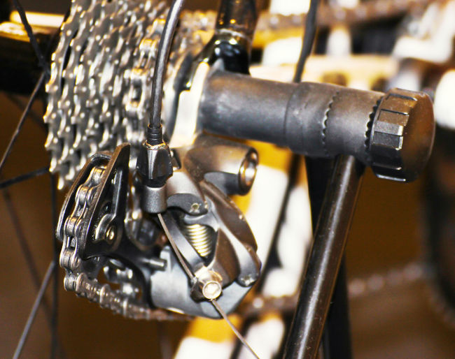 Close-up of bicycle on metal