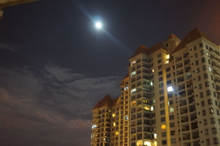 Architecture Building Exterior Cloud - Sky From My Window Illuminated Low Angle View Moon Moonglow  Night Outdoors Pale Moon Sky