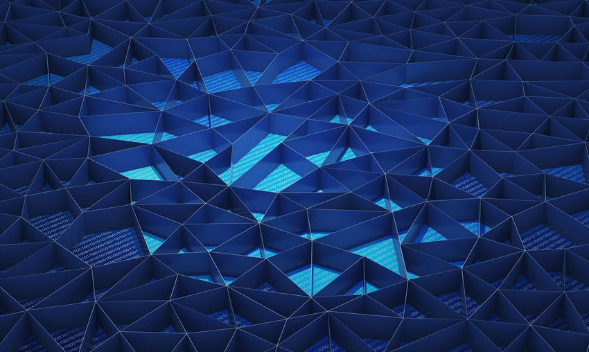 Blue walls background for technology concept, 3d illustration Business Abstract Art And Craft Artificial Intelligence Background Backgrounds Binary Code Blockchain Blue Close-up Code Computer Connection Creativity Cryptocurrency Crystal Design Digital Full Frame Geometric Shape Glowing High Angle View Indoors  Multi Colored Network Nightlife No People Number Pattern Repetition Shape Studio Shot Technology Triangle Shape Walls