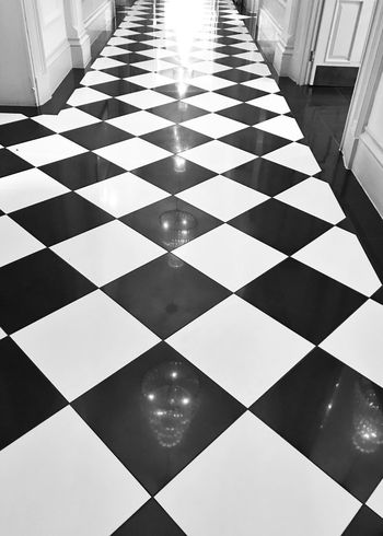Tiled floor Checked Pattern Tiled Floor Flooring Indoors  Pattern Close-up