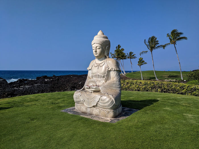 Big Island Hawaii Vacations Island Landscape Nature Outdoors Scenics Statue Buddha Mediation Relaxing Relax Beach Trees Meditating Buddha