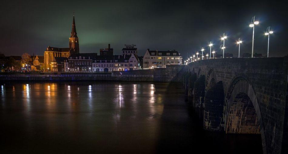 Night Bridge - Man Made Structure Travel Destinations Street Light City River Maas No People St Servaas Bridge