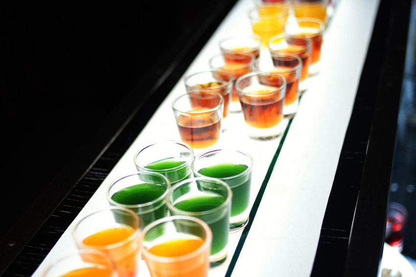 GIN Alchohol Alcholic Beverage Drink Drinking Glass Food And Drink High Angle View In A Row Indoors  Multi Colored Ready-to-eat Shots Vodka Food Stories