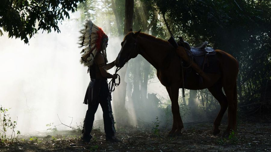 Man with horse standing in forest