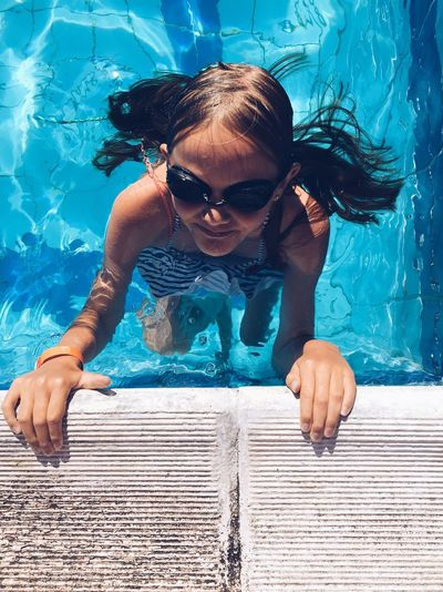 EyeEm Selects Swimming Pool Swimming Summer One Person Water Vacations Happiness Leisure Activity Girls Portrait Greece Korfu Be. Ready. Summer Exploratorium