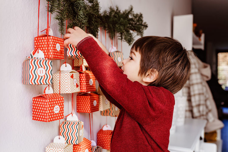 Rear view of boy holding christmas tree in box