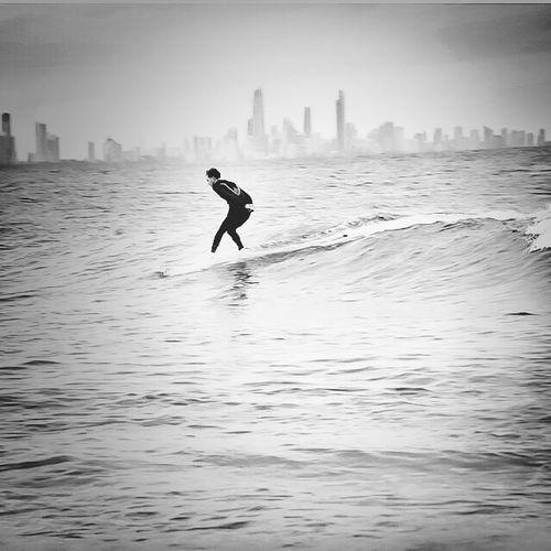 Surfing Longboard Black And White Monochrome