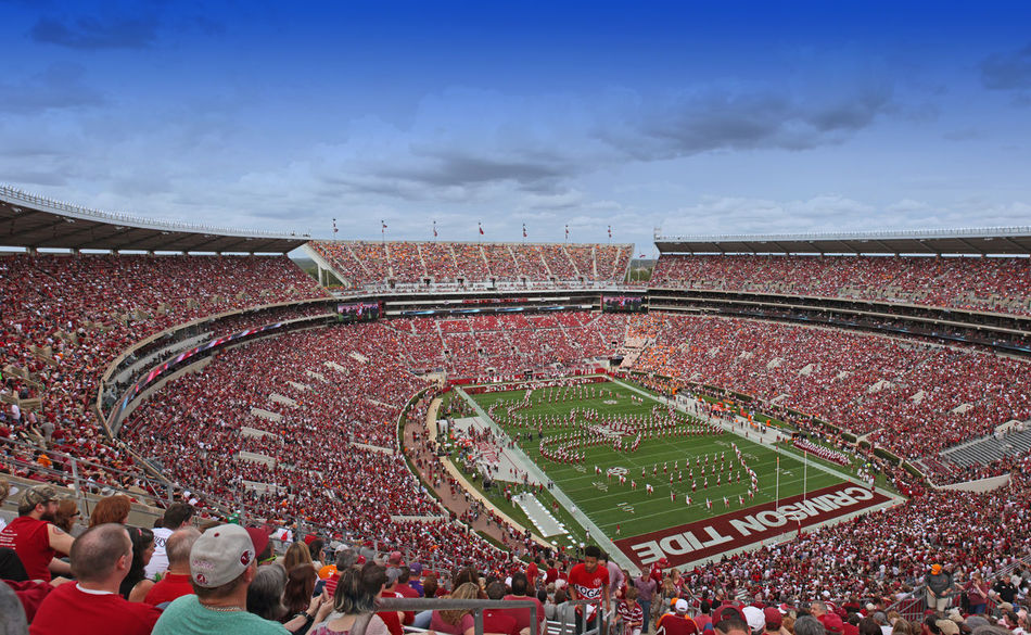 University of Alabama Million Dollar Band pregame show featuring a Script A. Architecture Bama Bryant Denny Stadium Built Structure Crimson Tide  Field Football Large Group Of People Marching Band Million Dollar Band Outdoors Pregame Script A Spectator The Color Of Sport