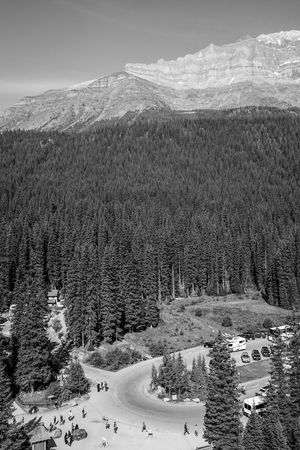 rocky mountain size comparison perspective Blackandwhite Monochrome People Mountain Rocky Mountains Trees Forest Tourist Banff National Park  View Landscape Snow Rural Scene Hill Sky Landscape Growing