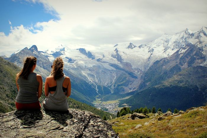 Mountain Mountain Range Only Women Cloud - Sky Two People Sitting Togetherness People Landscape Looking At View Young Women Women Outdoors Nature Sky Nature Travel Switzerland Swiss Alps Beauty In Nature Travel Destinations Saasfee Saas Fee Woman