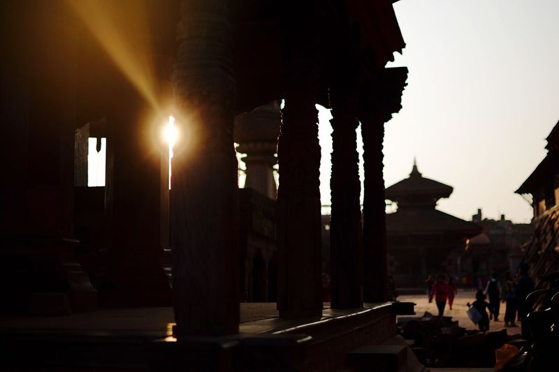 Sunset temple. Nepal Hinduism Temple Sunset Street Light Street Architecture Building Exterior Built Structure Sky Lighting Equipment Illuminated City Nature Building Outdoors City Life The Way Forward