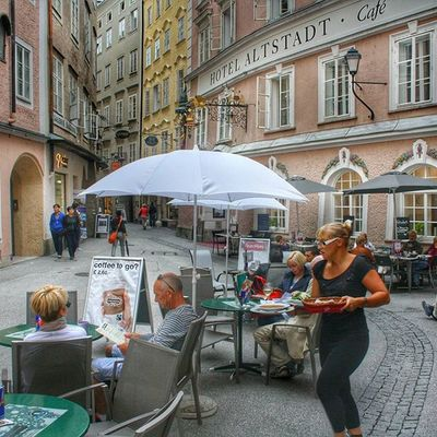 Cafe Salzburg Euro Eurodiary beautiful town history architecture old ancient austria holiday throwback