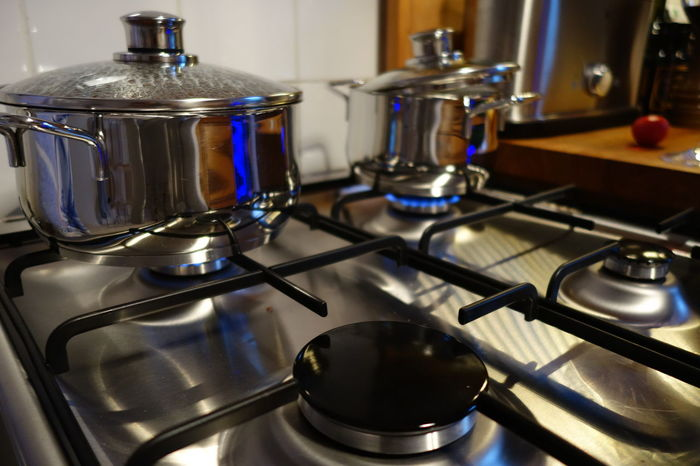 Appliance Close-up Cooking Domestic Kitchen Domestic Room Gas Stove Burner Home Interior Indoors  Kitchen Kitchen Utensil Metal No People Shiny Stainless Steel  Stove