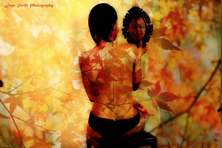 Autumn🍁🍁🍁 Day Leisure Activity Lifestyles Nature Outdoors Rear View Studio In The Fores Women