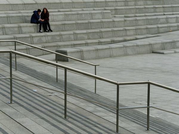 Streetlife Street Photography Steps Railings Minimalism Stone Couple Urban Picsartrefugees Stripes Lines