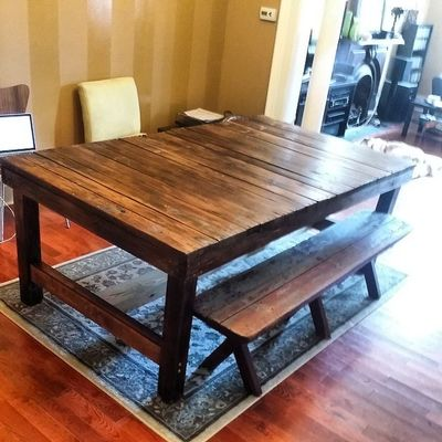 Just completed this bench and harvest table! Seven ft x four ft Hingestore Homedecor Harvesttable Reclaimedwood woodworking customwork