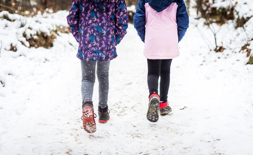 Low section of women walking on snow