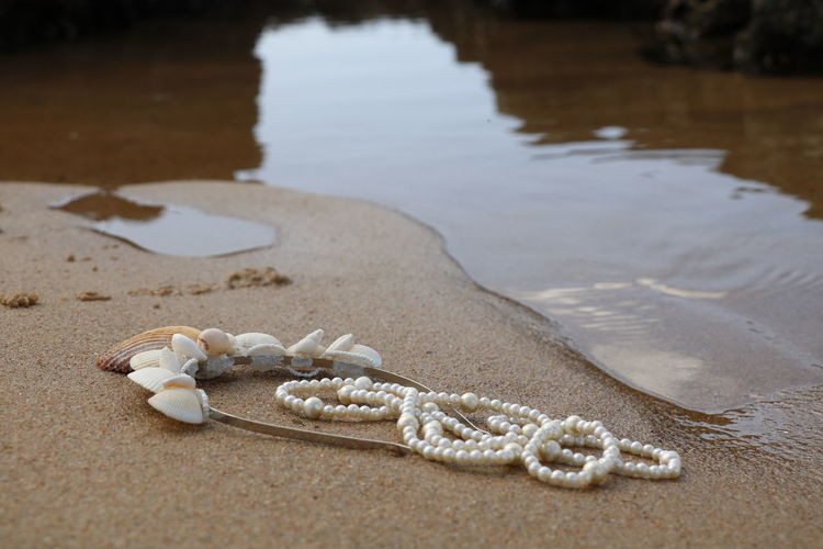 Close-Up Of Shells And Necklace On Sand At Beach