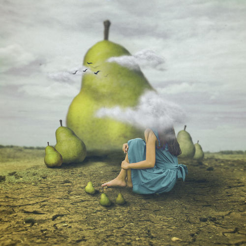 Digital composite image of woman sitting by pear on land