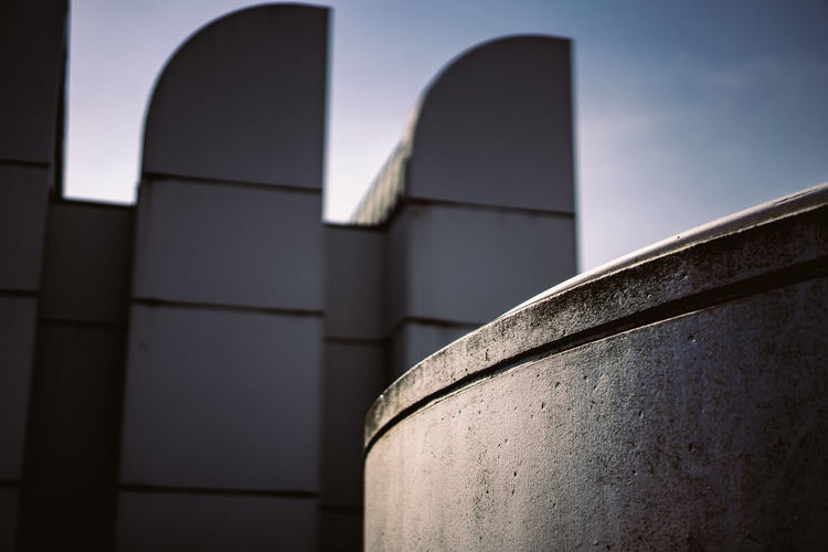 Bauhaus Archives Bauhaus Bauhaus Building Bauhaus Museum Bauhaus Architecture Bauhaus Style Architecture Building Building Exterior Built Structure Clear Sky Close-up Concrete Day Focus On Foreground Gray History Low Angle View Metal Modern Nature No People Outdoors Place Of Worship Sky Sunlight Tower