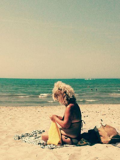 Vintage Blonde Girl Handcraft Beach Autumn 2016 Sea Nature Perspective Seashore Albania