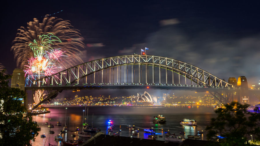 Sydney Harbour Bridge Fireworks Display during New Year eve 2017 Beauty City Cityscape Firework Display Horizontal Landscape Midnight New Year's Eve New York Night People Scenics Steel Water