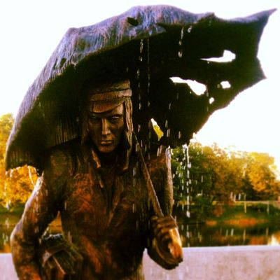 Autumn Monument Rain Rainy Day Standing Statue Umbrella Yellow Leaves Jelgava Fountain