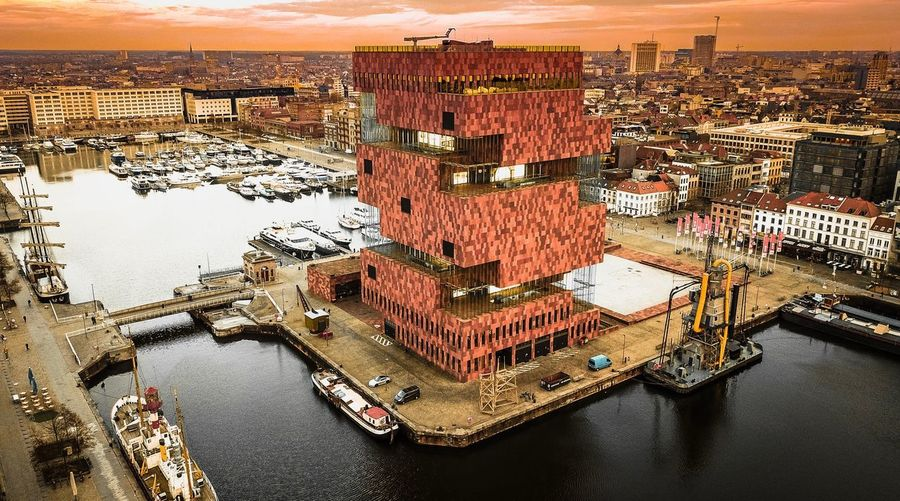 Antwerpen Anvers - Belgique Architecture Building Building Exterior Built Structure City Cityscape Design Harbor High Angle View Mode Of Transportation Museum Nature Nautical Vessel No People Orange Color Residential District River Sky Transportation Travel Destinations Water Waterfront