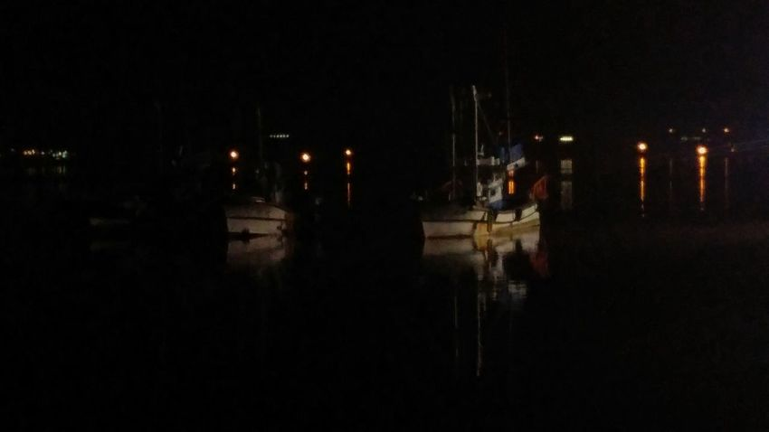 Night Sea And Ship Sea Side Fort Darkness And Beauty Darkness Reflection Outdoors
