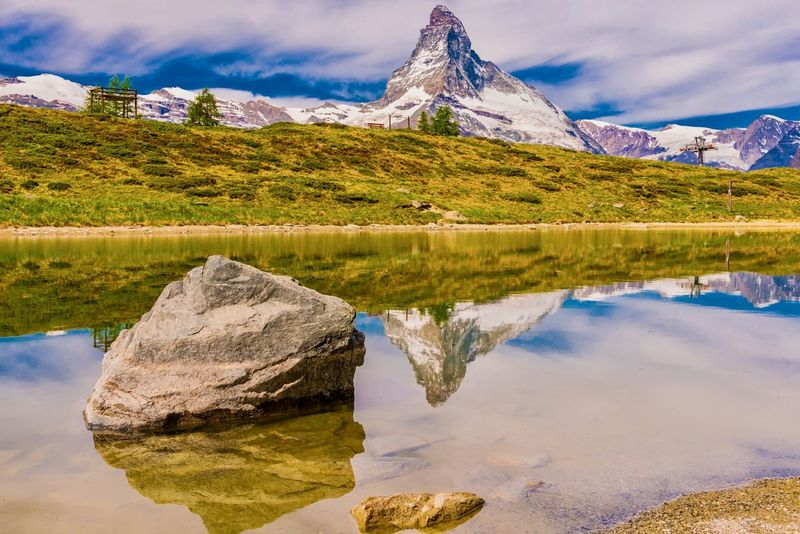 Beauty In Nature Cloud - Sky Day Lake Landscape Mountain Mountain Range Nature No People Outdoors Reflection Rock - Object Scenics Sky Snow Snowcapped Mountain Tranquil Scene Tranquility Water