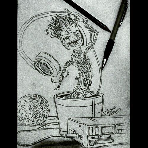 Art Sketch Drawing i am baby groot ! Groot my last drawing