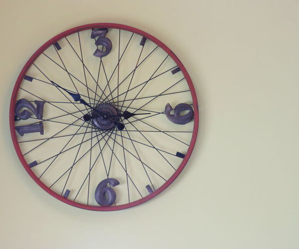 Architecture Bicycle Wheel Clock Clocks Close-up Day Indoors  No People White Background