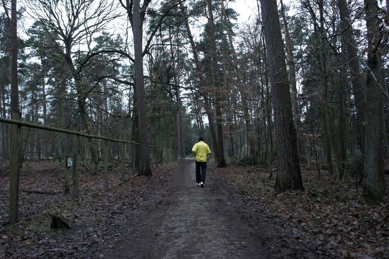 Rear view of man running on road in forest
