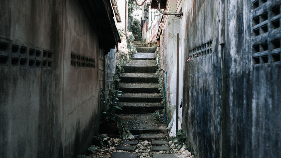 Architecture Built Structure Staircase No People Wall - Building Feature Direction Old Day Building Exterior Steps And Staircases Building The Way Forward Weathered History Abandoned Wall Narrow The Past Outdoors Obsolete Alley