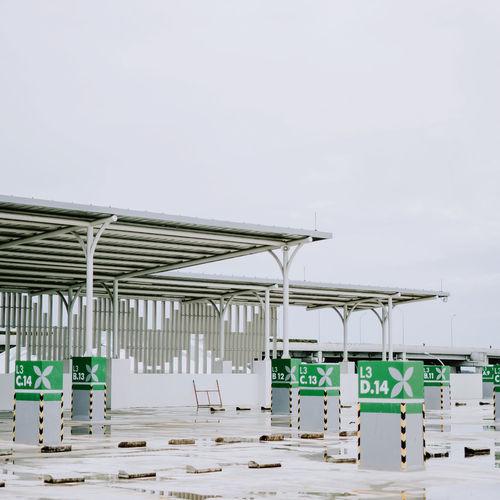 Built structure at construction site against sky