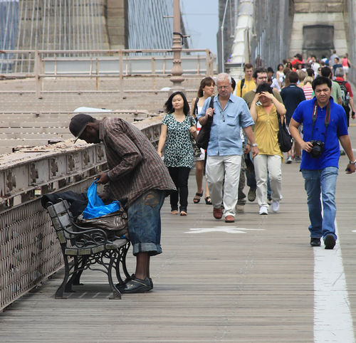 Bridge - Man Made Structure Brooklyn Bridge  City Disadvantage Full Length Group Of People New York City Outdoors People Poverty Lives. Society Sunlight Togetherness Paint The Town Yellow