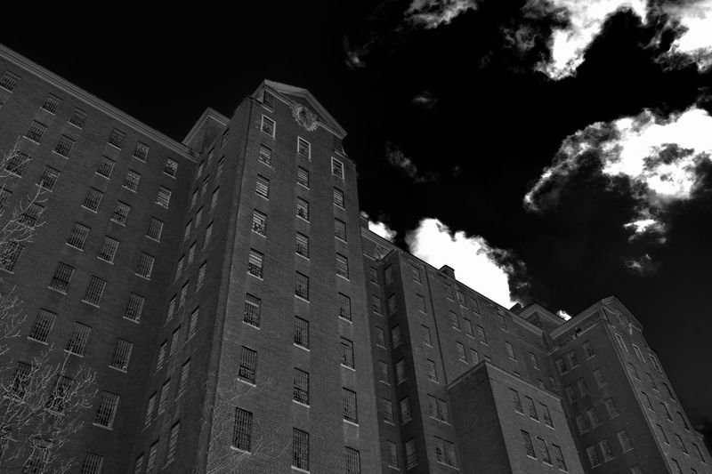 Sinister Building. Abandoned Abandoned Buildings Architecture Blackandwhite Building Exterior Built Structure Cloud - Sky Evil High Angle View High Contrast Hospital Sinister Tree Windows