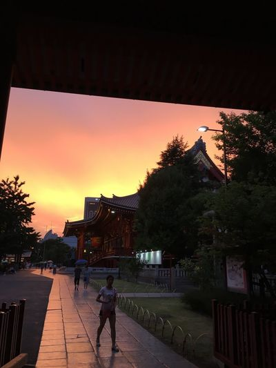 asakusa Real People Full Length Architecture Walking Built Structure One Person Sunset Building Exterior Tree Outdoors Lifestyles Men Women Sky Day People Adult