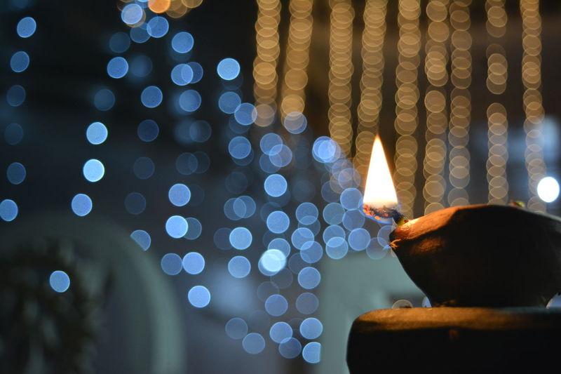 #beginner... For Now #bokehshot #diwali #light #photography Burning Close-up Diya - Oil Lamp Flame Illuminated Night