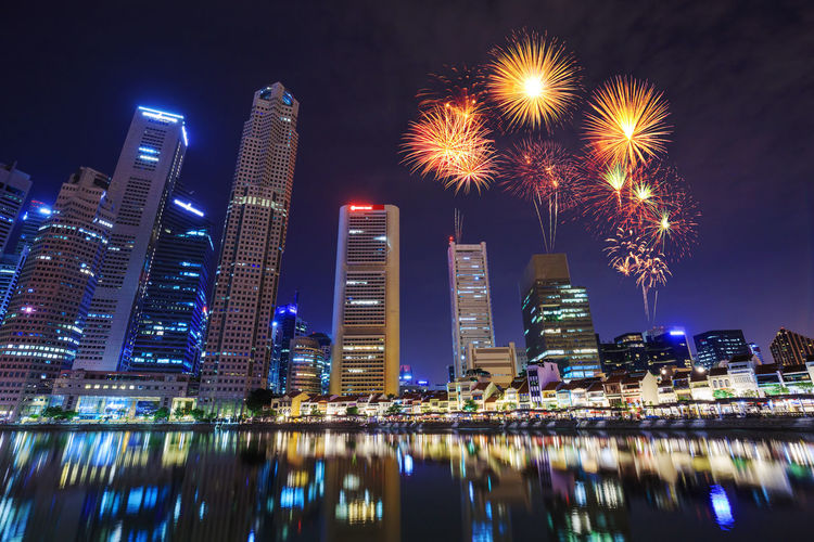 Singapore Bay Marina City Skyline Day National Cityscape Beautiful Celebration Fireworks Business Water Night Skyscraper Waterfront Firework Sky Light Travel Architecture ASIA Landmark Evening Hotel District Urban Building Commercial Dusk Modern Financial Sea Illuminated Landscape Festival Holiday Reflection Celebrate Event River Anniversary New Year Happy Show Gold Golden Orange
