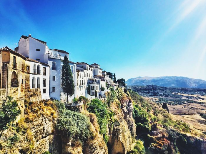 Ronda Spain Blue Building Exterior Sky Clear Sky Tranquil Scene No People Landscape Vacations Travel Destinations Clear Sky House Architecture Cultures Tourism History My Best Travel Photo