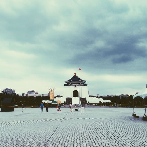 ASIA Travel Destinations Chiang Kai-shek Memorial Hall Taipei Taiwan Cloud - Sky Sky Architecture Nature Built Structure Building Exterior Group Of People Outdoors