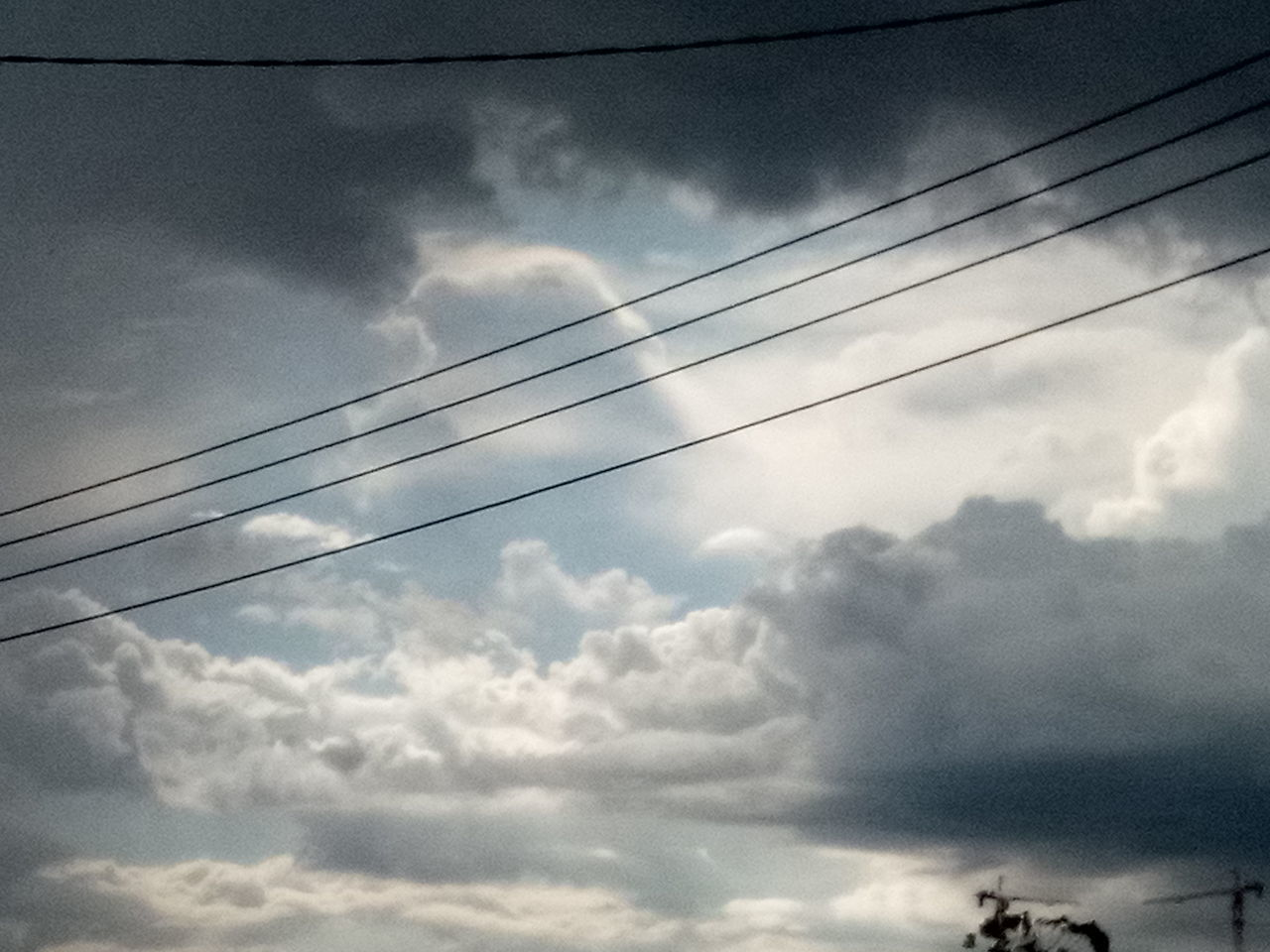 cloud - sky, sky, cable, low angle view, electricity, power line, no people, connection, day, nature, scenics - nature, beauty in nature, power supply, technology, outdoors, tranquility, fuel and power generation, tranquil scene, overcast, telephone line