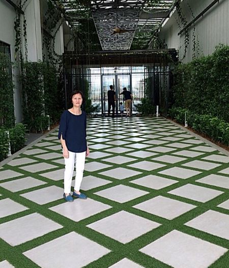 Garden Portrait Full Length Adult Women Portrait Real People People Day Lifestyles Architecture Built Structure Standing Flooring Females Casual Clothing Front View Leisure Activity Plant Tiled Floor