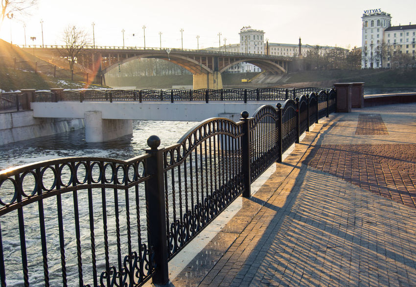 From My Point Of View By Ivan Maximov Eyeem Photo The Week On EyeEm Landscape Belarus City Vitebsk,Belarus Panoramic View Great Outdoors Composition River Bridge Perspective Travel Destinations Tranquil Scene Bridge - Man Made Structure Railing Outdoors Day Water Architecture City Sky No People Politics And Government Cityscape