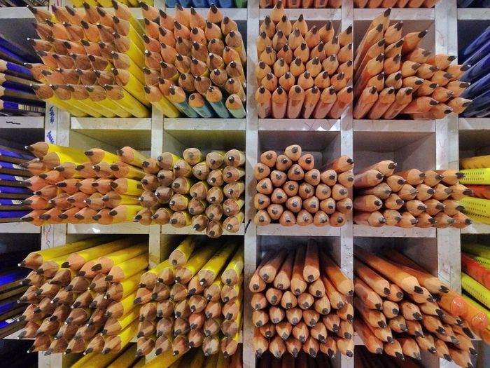 Full Frame Shot Of Pencils In Shelves At Store For Sale