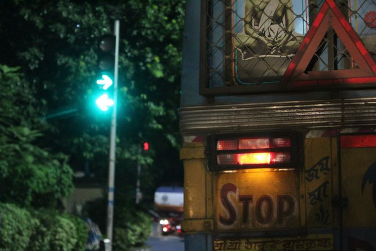 Green most peaceful view for people living in congested cities like Kolkata... India Illuminated Night No People Nightlife Outdoors Tree City Street Light Focus On Foreground KolkataStreets Calcuttacacophony Calculator Buses Trafficsignal