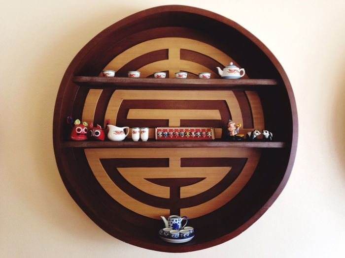 Chinese round hanging Wall Hanging Wooden Made Decoration Shelf Items Chainese Style Porcelain  Tea Set Ceramic Bangkhunsri Bangkok Cafe