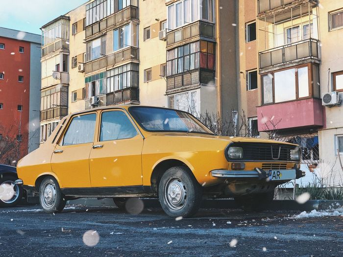 Winter on wheels 🚗... Weather Condition Asphalt Urban City Architecture Vehicle Automobile Iconic Vintage Vintage Car Auto Blizzard Winter Snowing Dacia Dacia 1300 Mode Of Transportation Building Exterior Transportation Motor Vehicle Car Architecture City Land Vehicle Street Built Structure Building Window Residential District Yellow
