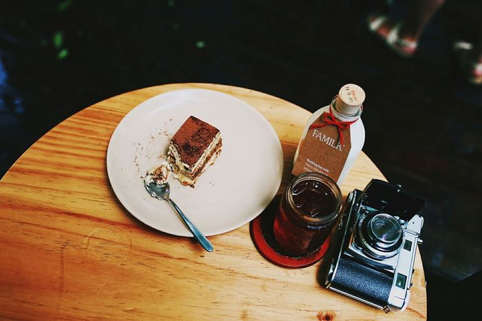 Desks From Above Coffee Time The Light Kodak Retina Milk Ice Tea Vietnam Food Cake Afternoon